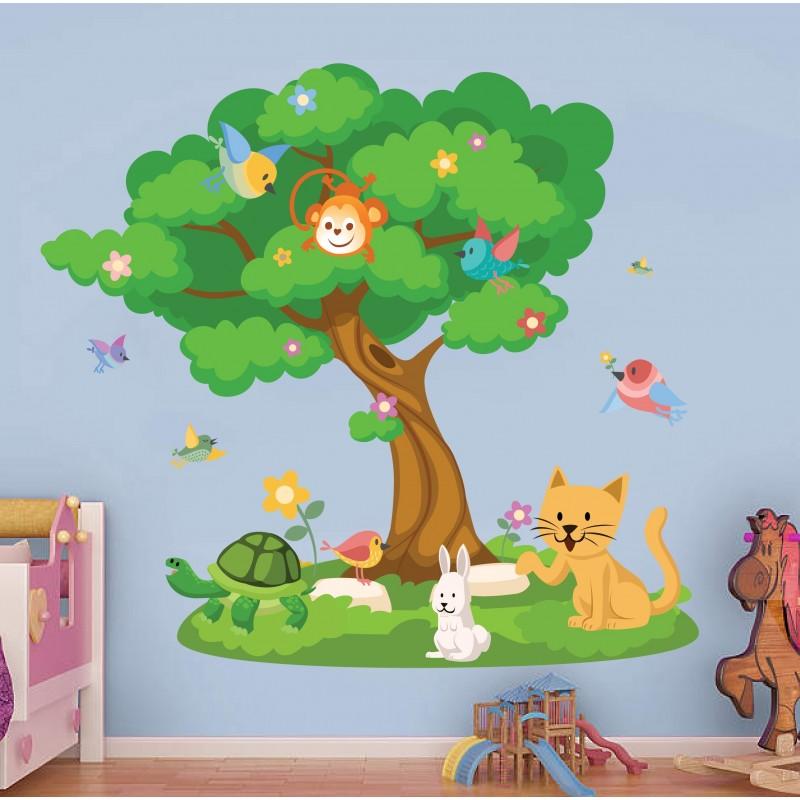 Αυτοκόλλητα τοίχου Δέντρο με ζωάκια