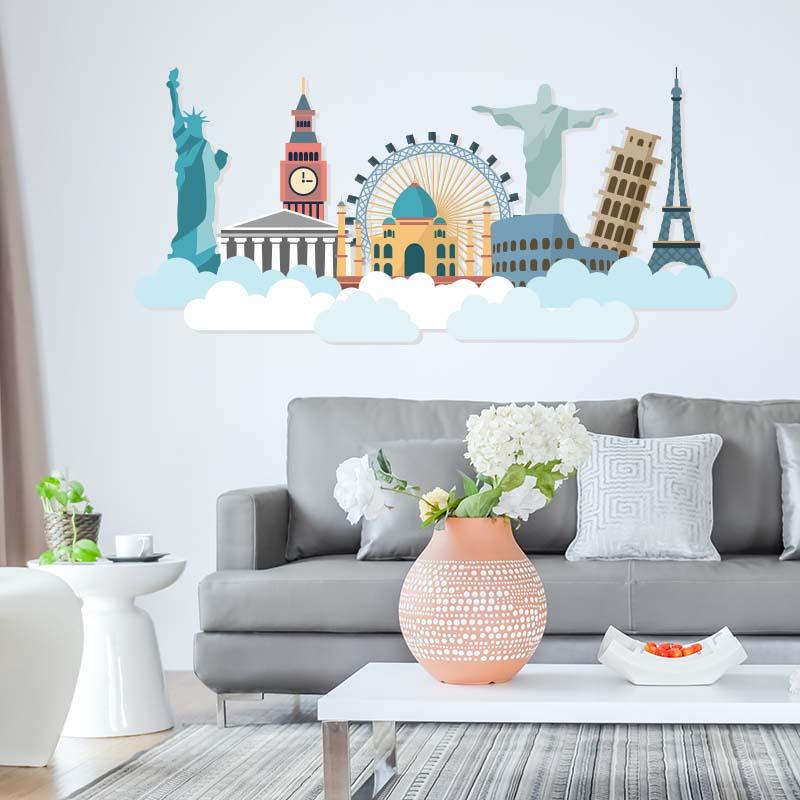 Σαλόνι με αυτοκόλλητο τοίχου